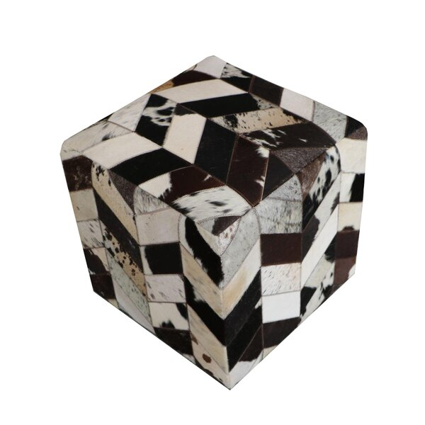 Golla Geometric Leather Pouf By Wrought Studio