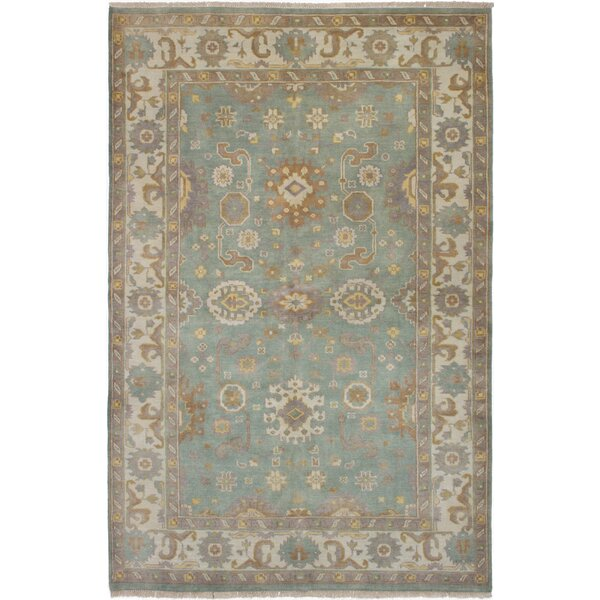 One-of-a-Kind Adan Royal Ushak Hand-Knotted Wool Ivory/Light Aqua Area Rug by Isabelline
