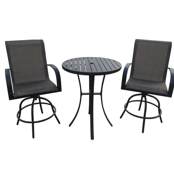 Stjohn 3 Piece Bar Height Swivel Chair Set with Metal Slat Table by Ebern Designs