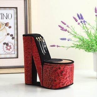 Leopard Iridescent Print High Heel Shoe Display Jewelry Box with Hooks