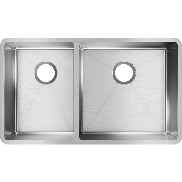 Crosstown 32L x 19w Double Basin Undermount Kitchen Sink by Elkay