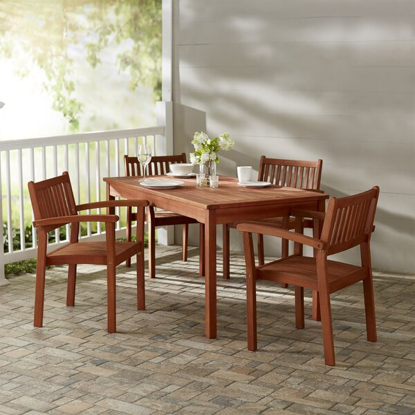 Amabel 5 Piece Rectangular Dining Set by Beachcrest Home