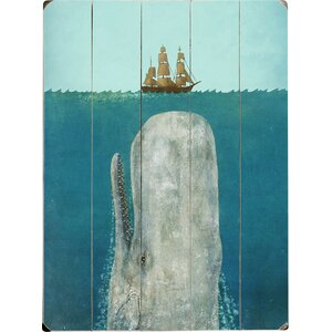 'The Whale' Graphic Art Print on Wood in Blue by Beachcrest Home