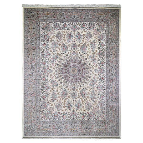 One-of-a-Kind Hand-Knotted Ivory/Brown 11'1 x 14'9 Area Rug