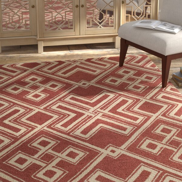 Joyal Hand-Tufted Red/Beige Area Rug by Bloomsbury Market