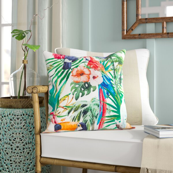 Sherwick Tropical Parrot Floral Print Indoor/Outdoor Throw Pillow by Bay Isle Home