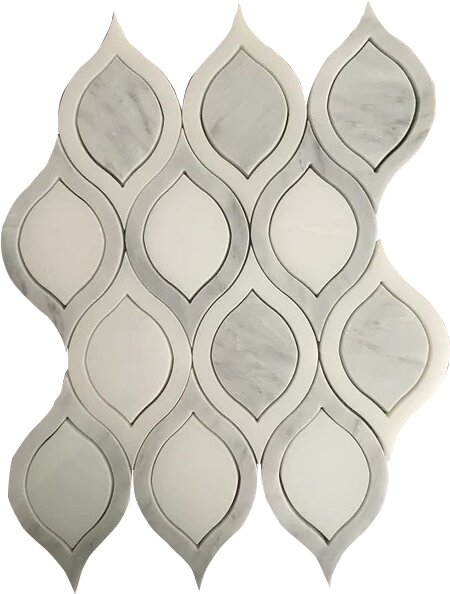 Tear Drop Wall Polished 12 x 12 Arabescato and Pure Mosaic Tile in White by Seven Seas