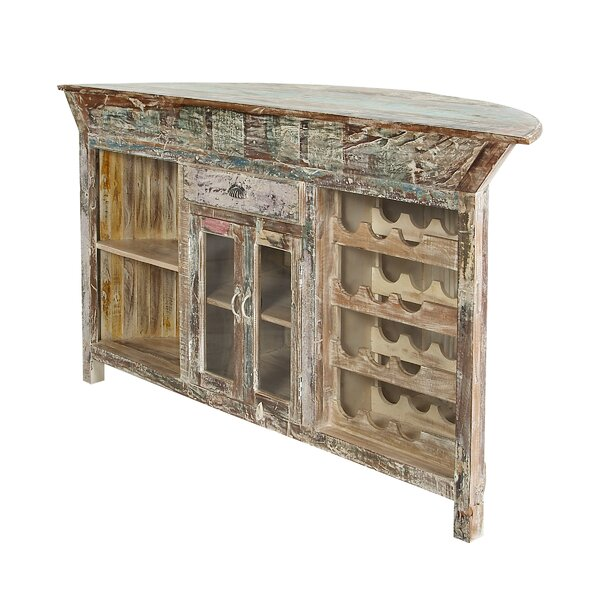 Lozoya Rustic Distressed Curved Pub Table by Longshore Tides