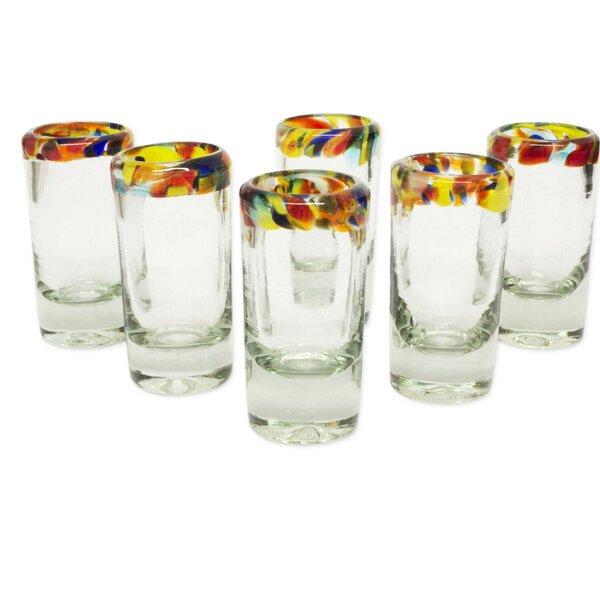 Confetti Tequila 2 oz. Glass Shot Glass (Set of 6) by Novica
