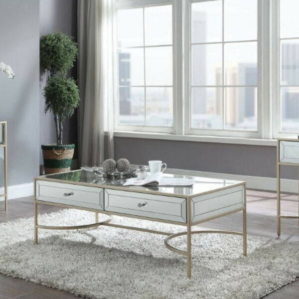 Shelbie Modern Rectangular Metal and Mirror Coffee Table with Storage by Everly Quinn Everly Quinn