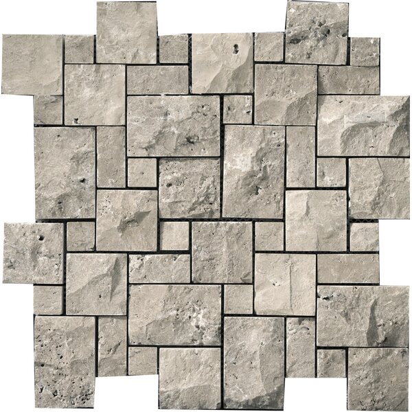 Travertine 1 x 2/12 x 12 Splitface Offset Mosaic in Silver