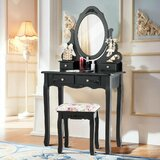 Chickerell Vanity Set with Stool and Mirror by Astoria Grand