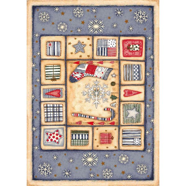 Winter Seasonal Holiday Patch of Snow Blue/ Biege Area Rug by Milliken