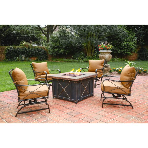Debbie 5 Piece Conversation Set 2 Person Seating Group with Cushions by Fleur De Lis Living