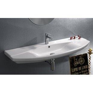 Inexpensive Focus Ceramic Rectangular Wall-Mount Bathroom Sink with Overflow ByCeraStyle by Nameeks