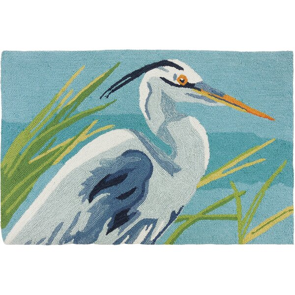 Barnstable Heron Light Blue/Teal Area Rug by Bay Isle Home
