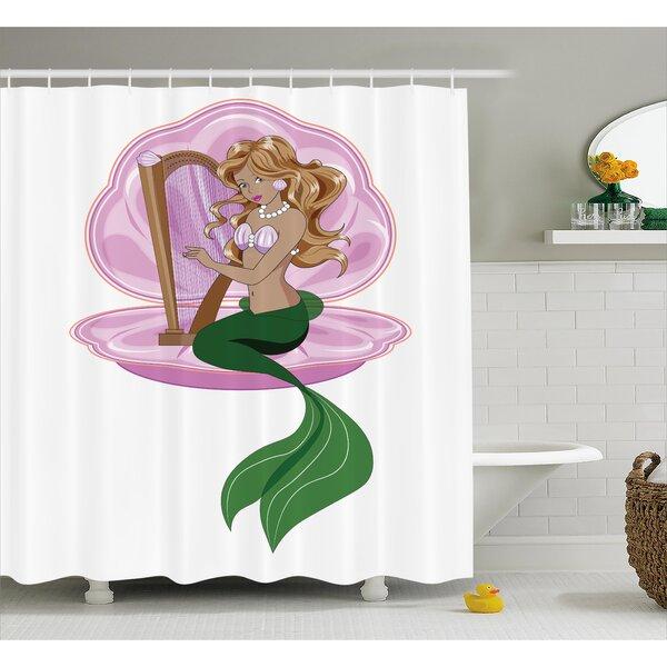 Kael Fairytale Mermaid Art Shower Curtain by Zoomie Kids