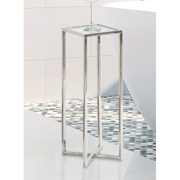 Steinhauer Glass Top Cross Legs End Table By Mercer41