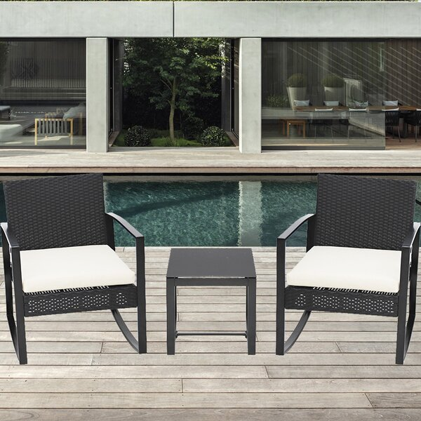 Azende 3 Piece Rattan Seating Conversation Group with Cushions