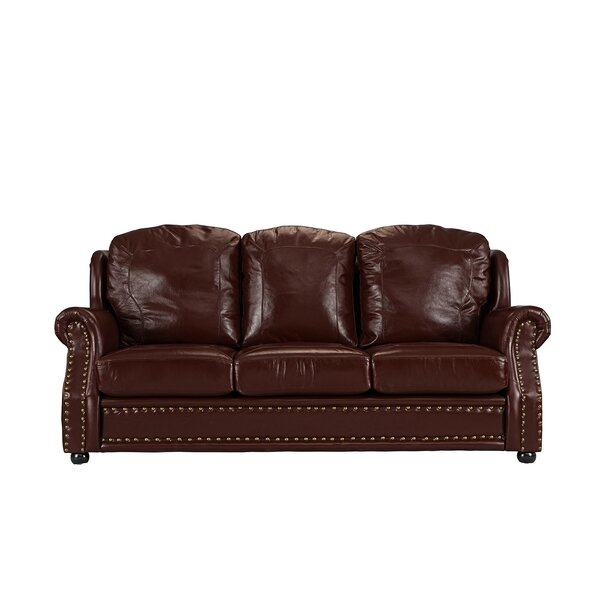Excellent Reviews Hintz Leather Sofa by Williston Forge by Williston Forge