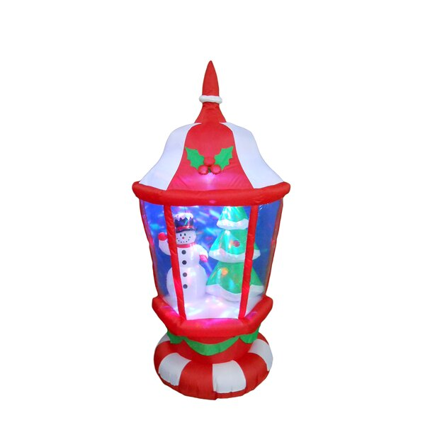 Christmas Lantern with Snowmen and Christmas Tree
