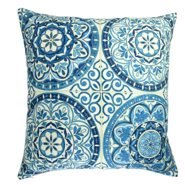 Galicia Modern Spanish Moroccan Wheel Circles in Indigo Indoor/Outdoor Pillow Cover (Set of 2) by Bungalow Rose