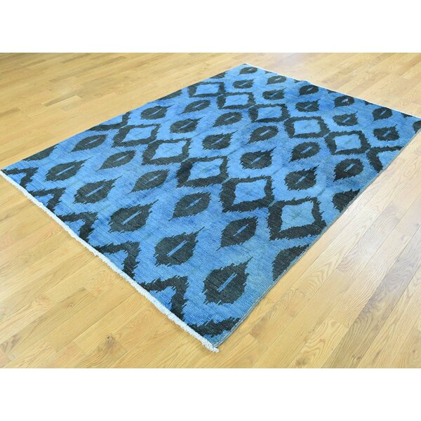 One-of-a-Kind Branson Ikat Uzbek Design Denim Handwoven Blue Wool Area Rug by Isabelline