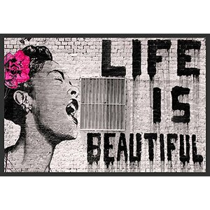 'Life Is Beautiful' by Banksy Framed Graphic Art by Buy Art For Less