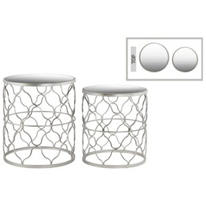 Abreu Round 2 Pieces Nesting Tables with Mirror Top Quatrefoil Lattice Des..