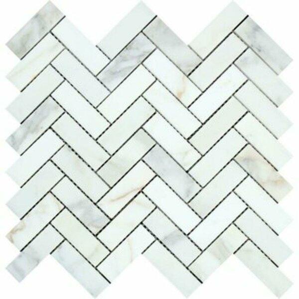 Calacatta Maserati Herringbone Honed 12 x 12 Marble Mosaic Tile