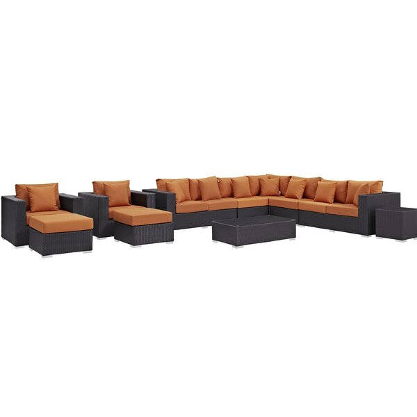 Brentwood 11 Piece Rattan Sectional Seating Group with Cushions by Sol 72 Outdoor
