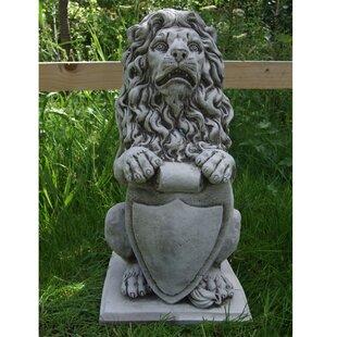 Shield Lion Garden Statue
