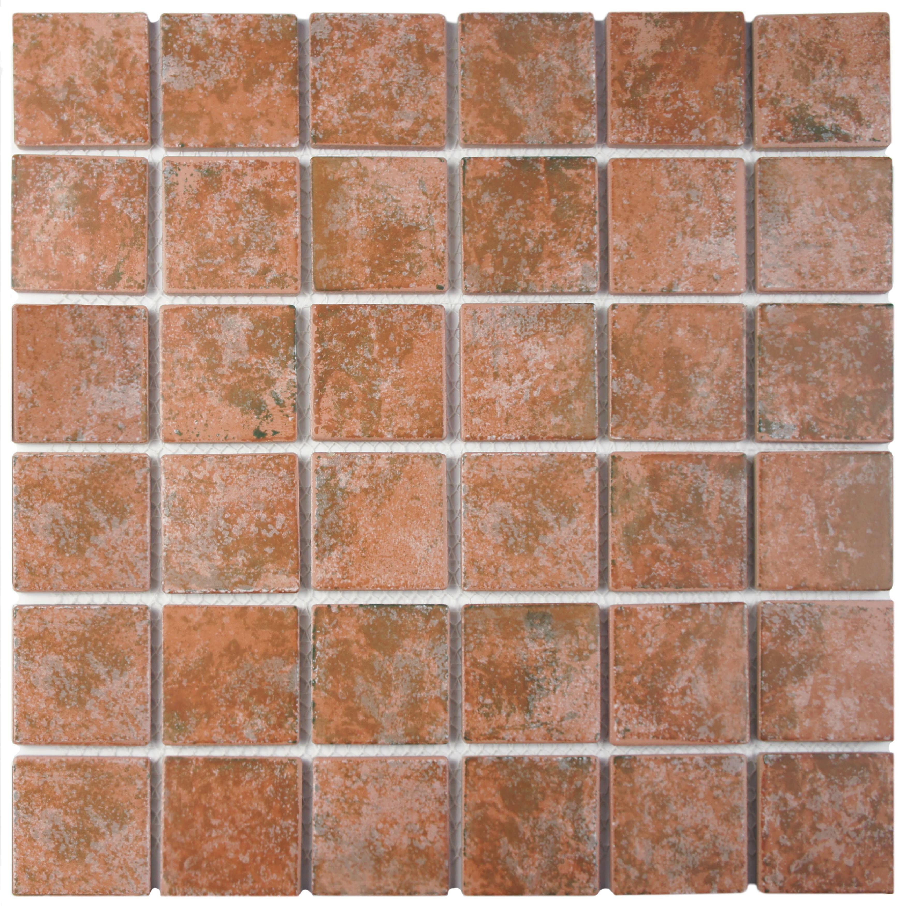 Elitetile elbert 2 x 2 porcelain mosaic tile in matte brown elitetile elbert 2 x 2 porcelain mosaic tile in matte brownorangegray reviews wayfair dailygadgetfo Images