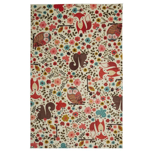 Johansson Enchanted Forest Cream/Red Area Rug by Harriet Bee