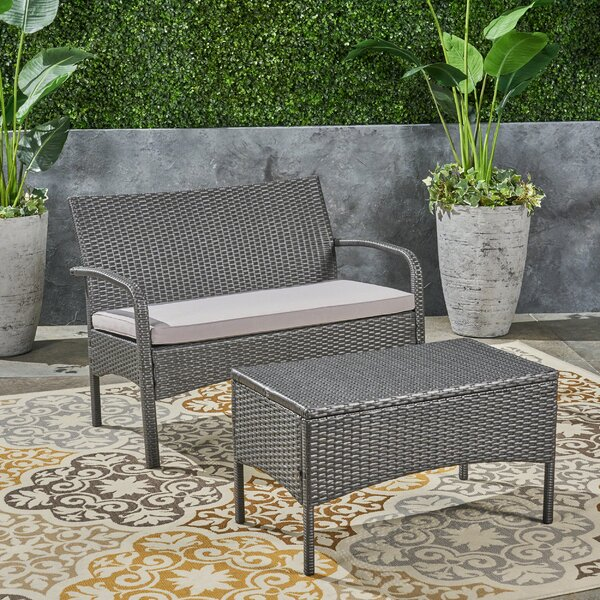 Deeanna Outdoor 2 Piece Rattan Sofa Seating Group with Cushions by Winston Porter