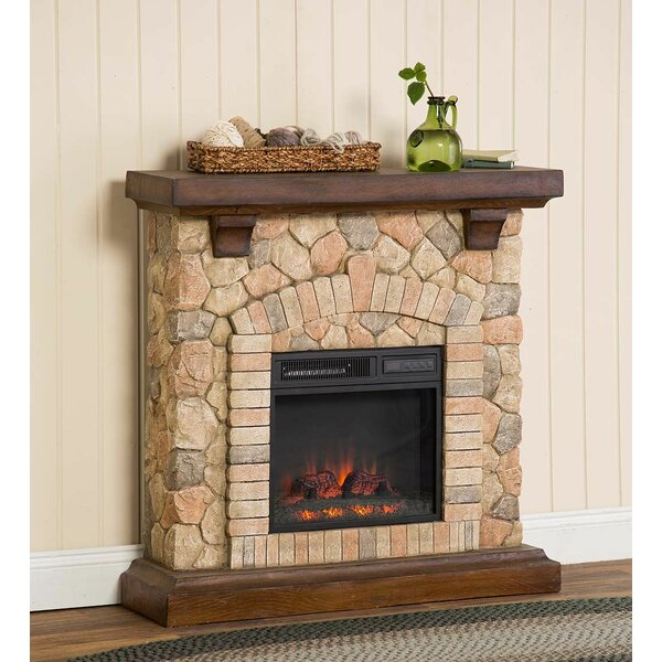 Stacked Stone Infrared Quartz Electric Fireplace by Plow & Hearth