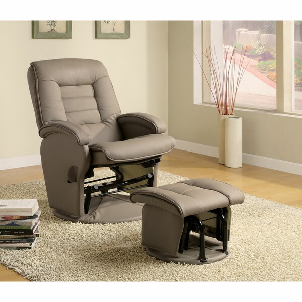 Seppe Dual Tone Manual Recliner with Ottoman Red Barrel Studio W001188083