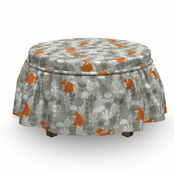 Winter Forest With Flowers Ottoman Slipcover (Set Of 2) By East Urban Home