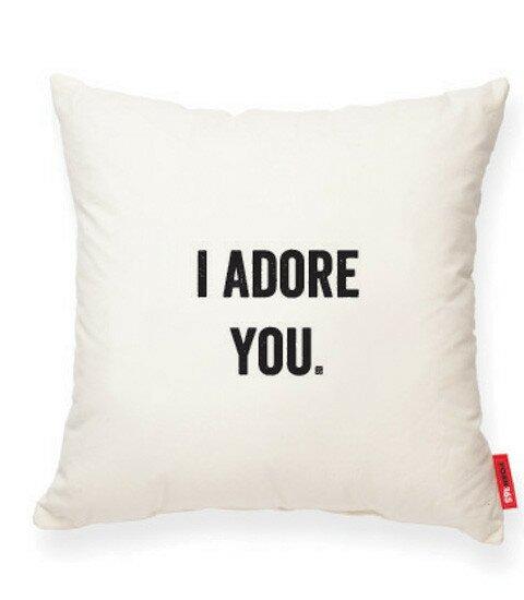 Expressive I Adore You Cotton Throw Pillow by Posh365