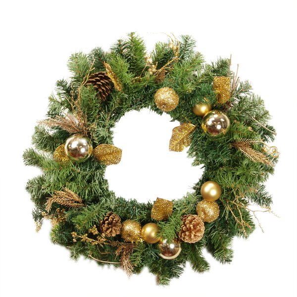 24 Artificial Pine Cone Apple and Ball Ornament Christmas Wreath by Northlight Seasonal