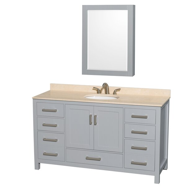 Sheffield 60 Single Gray Bathroom Vanity Set with Medicine Cabinet by Wyndham Collection