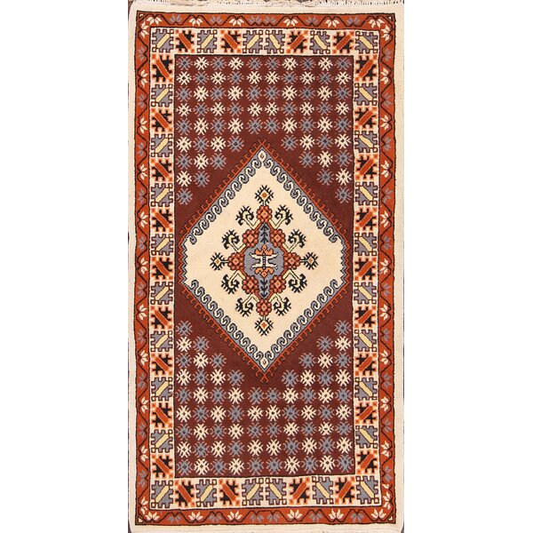 Blueridge Moroccan Oriental Hand-Knotted Wool Burgundy/Ivory Area Rug by Bloomsbury Market