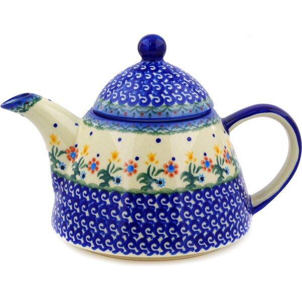 Spring Flowers 1.22 Qt. Polish Pottery Teapot by Polmedia
