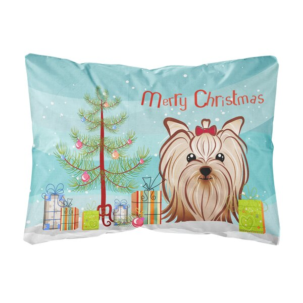 Hazelwood Christmas Tree and Yorkie Yorkshire Terrier Fabric Indoor/Outdoor Throw Pillow by The Holiday Aisle