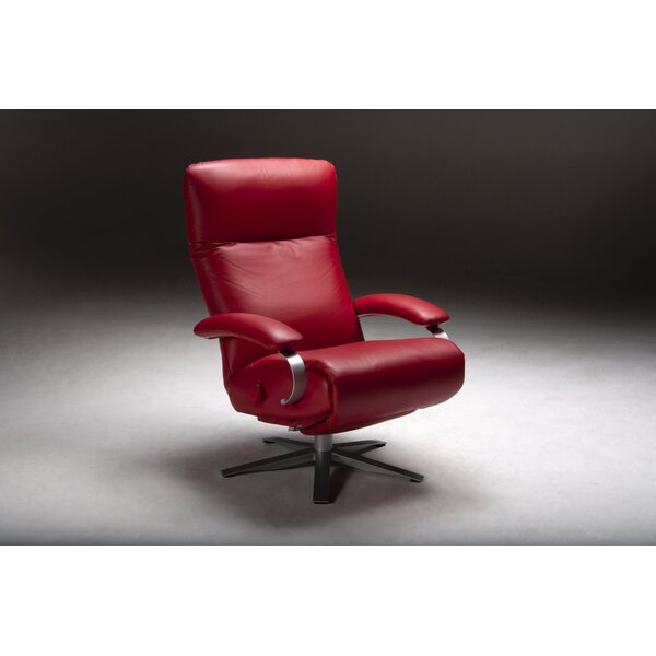 Carrie Leather Manual Swivel Recliner By Lafer