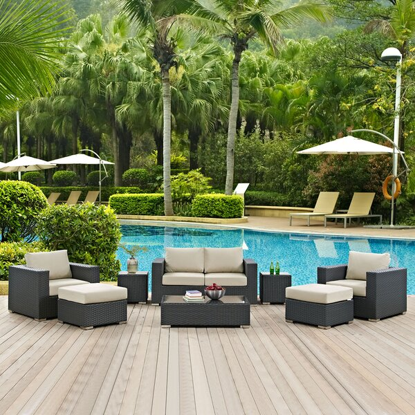 Tripp 8 Piece Rattan Sunbrella Sofa Seating Group with Cushions by Brayden Studio