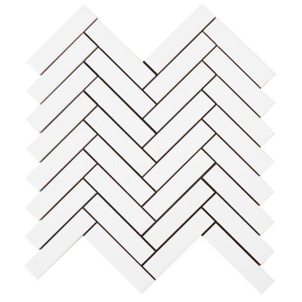 Herringbone 1'' x 4'' Glass Mosaic Tile in White by Lion Tiles