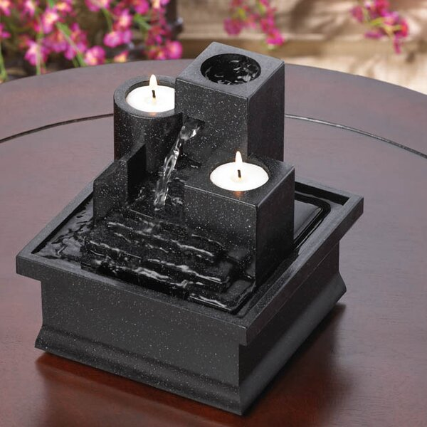 Acrylic Temple Steps Polyresin Tabletop Fountain with Light by Zingz & Thingz
