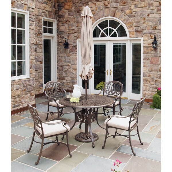 Yates 7 Piece Dining Set with Cushions & Umbrella by One Allium Way
