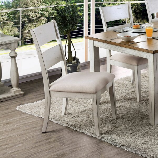 Malcom Ladder Back Side Chair in White (Set of 2) by Rosecliff Heights Rosecliff Heights